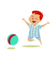 kid playing with a ball vector image
