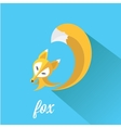 little fox fox flat icon vector image