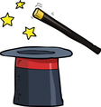 Magic wand and a top hat vector image