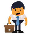 man with briefcase on white background vector image vector image