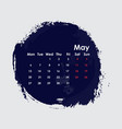 may 2019 calendar templatestarts from monday vector image
