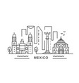mexico minimal style city outline skyline with vector image