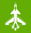 Military fighter jet icon green