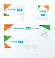 Origami label design orange green blue vector image vector image