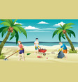 people collecting trash into bags on beach vector image vector image