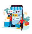 people shopping cartoon man and woman buy clothes vector image