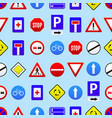 road signs seamless pattern background vector image vector image