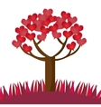 romantic tree hearts lovely design vector image vector image