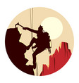 round logo of alpinists climbers vector image