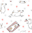seamless pattern with dogs on white background vector image vector image