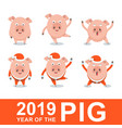 set of funny merry pig in santa claus costume vector image