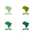 Set of paper stickers on white background Brazil vector image vector image
