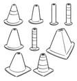 set traffic cone vector image