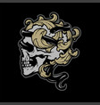skull with a snake and vintage leaves on a dark vector image vector image
