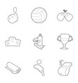 sport things icons set outline style vector image vector image