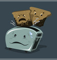toaster with overcooked burnt bread different vector image vector image