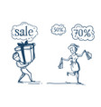 woman man couple with purchases shopping sale vector image