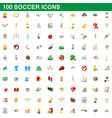 100 soccer icons set cartoon style vector image vector image