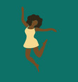 abstract woman full-length portrait jumping afro vector image