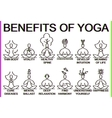 Advantages and benefits of practice yoga vector image