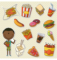 African-American Boys With Take Away Food vector image vector image