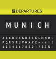 airport flip board destination europe munich vector image vector image
