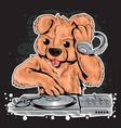 bear dj music teddy vector image