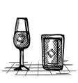 best whiskey set cups drawn vector image vector image