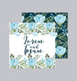 blue flowers decoration floral wedding card vector image vector image