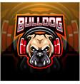 bulldog wearing headphones esport mascot logo vector image