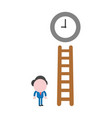businessman character reach clock with wooden vector image