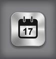 Calendar icon - metal app button vector image