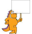cartoon smiling dinosaur holding a sign vector image
