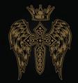 christian cross wing crown drawing blak vector image