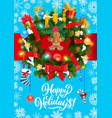 christmas holidays gifts and wreath decoration vector image