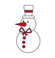 color silhouette image of snowman with bow tie and vector image vector image