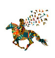 colorful ethnic motifs pattern a woman riding vector image vector image