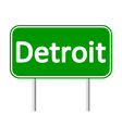 Detroit green road sign vector image vector image