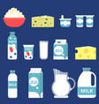 different milk products in flat vector image