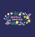 floral postcard template with international women vector image