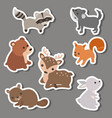 forest animal stickers forest animal stickers vector image