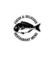 fresh seafood emblem template with fish design vector image