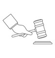 gavel in hand icon outline style vector image