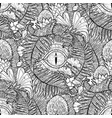 graphic dinosaur eye and prehistoric plants vector image