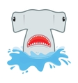 hammerhead shark with open mouth He jumps out of vector image vector image