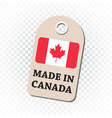 hang tag made in canada with flag on isolated vector image vector image