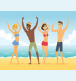 happy friends on beach - cartoon people vector image vector image