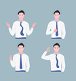 happy young man shows gestures set vector image vector image