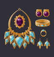 jewelry accessory collection isolated on black vector image