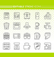 kitchen appliance simple line icons set vector image vector image